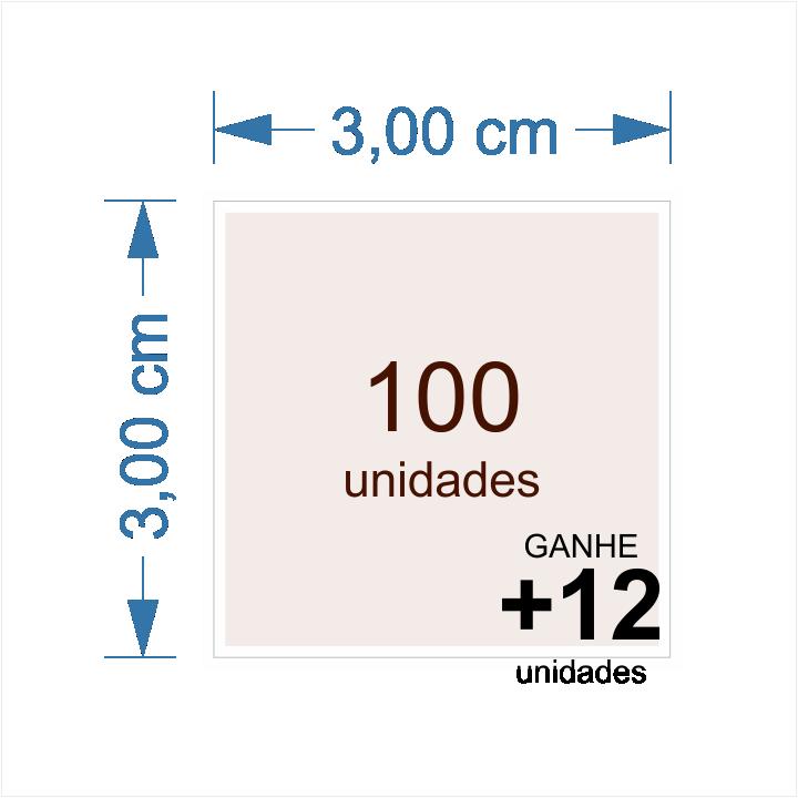 Etiqueta em adesivo vinil de 3 x 3 cm quadrada